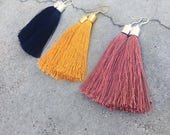 Dusty pink/Navy blue/Mustard Yellow silk tassel earrings - 'Shimmy' - statement earrings - statement jewellery - statement jewelry - drop ea