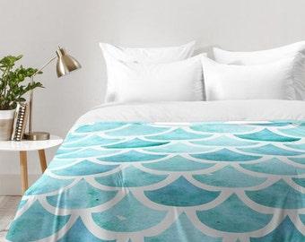 La Mer turquoise blue sea ocean waves themed comforter quilt duvet, unique wedding engagement gift, new housewarming gift spring home decor