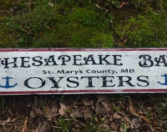 Chesapeake Bay Oysters Wood Sign - Handmade Wooden Decor