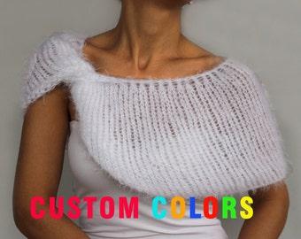 Bridal Winter Cape Bolero Classic White Off Shoulder Twisted Shrug Wrap, Bridesmaid Shawl, Fall Wedding Jacket Dress Cover Evening Faux Fur
