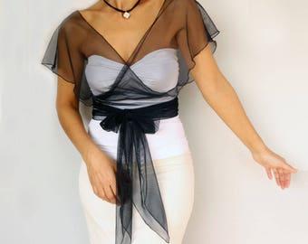 Navy Tulle Bridal Top Wrap, Bridesmaids Evening Dress Coverup, Wedding Shrug Bolero Shawl, Romantic Modern, CUSTOM COLOR