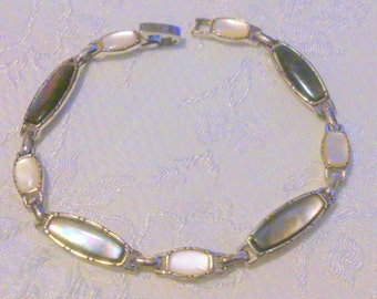Vintage Silver Tone Mother Abalone Mother of Pearl Link Bracelet