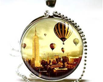 Balloons Over The City Glass Cabochon Pendant Necklace