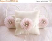 WEDDING SALE 20% OFF Flower Girl Basket Set  ..  Ivory Wedding Ring Pillow  Two Baskets Pink Flowers Beach Wedding Ivory and Cream Custom Co