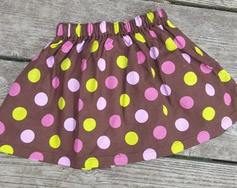 SALE - Brown with PInk and Green Polka Dots Skirt - Size 2T