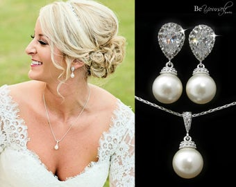 Pearl Bridal Earrings Bride Necklace White Crystal Wedding Jewelry Swarovski Pearl Wedding Earrings Cubic Zirconia Bridesmaid Gift Jewelry
