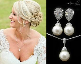 Pearl Bridal Earrings Bride Necklace White Crystal Wedding Jewelry Swarovski Pearl Wedding Earrings Cubic Zirconia Bridesmaid Gift Jewelry