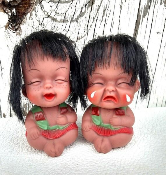 Vintage 1960's Set of 2 Happy and Sad Baby Doll Figurines