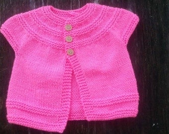 RTS 12 month Girls Pink Sweater, Layer Me Sweater, Girls Sweater, Hand Knit Sweater, Short Sleeve Sweater, Toddler Sweater, Knit Sweater