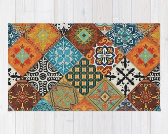 talavera tiles rug area rug floor rugs vintage carpet home decor