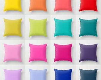 Solid Color Throw Pillow, 16 Bright Color Options, Indoor, Outdoor, Cushion, Light, Toss, Simple, Modern Bedding, Minimalist, Vivid, Bold