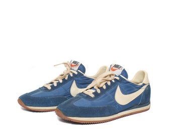 7 | Men's Vintage 80's Nike Swoosh Blue Leather Running Shoes Sneakers