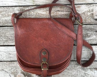 Vintage Brown Leather Shoulder Saddle Bag