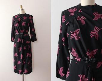vintage 1940s style dress // 70s does 40s novelty viscose rayon dress