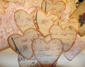 Heart Stickers Distress Style For Scrap Booking Add To Your Journals And Cards