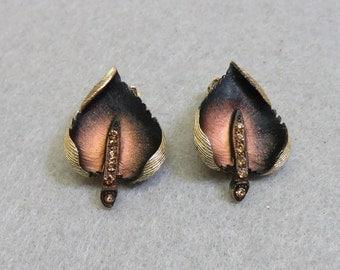 Metal Leaf Clip On Earrings, Copper, Vintage, Rhinestone Clip On Earrings