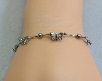 Vintage Petite Alpaca Silver Butterfly Bracelet, 7 inch Bracelet