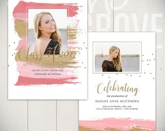 Graduation Announcement Template: Vibrant Card A - 5x7 Senior Card Template