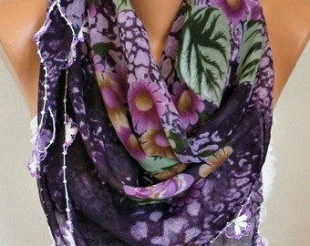 ON SALE --- Turkish Anatolians Floral Cotton Scarf,Bohemian,Oya Yemeni  Cowl Necklace Gift Ideas For Her Women Fashion Accessories