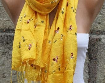 ON SALE --- Yellow Floral Scarf Gold Scarf Shawl Easter Cowl Scarf Bridal Acceessories bridesmaid gift  Gift Ideas For Her  Women Fashion Ac