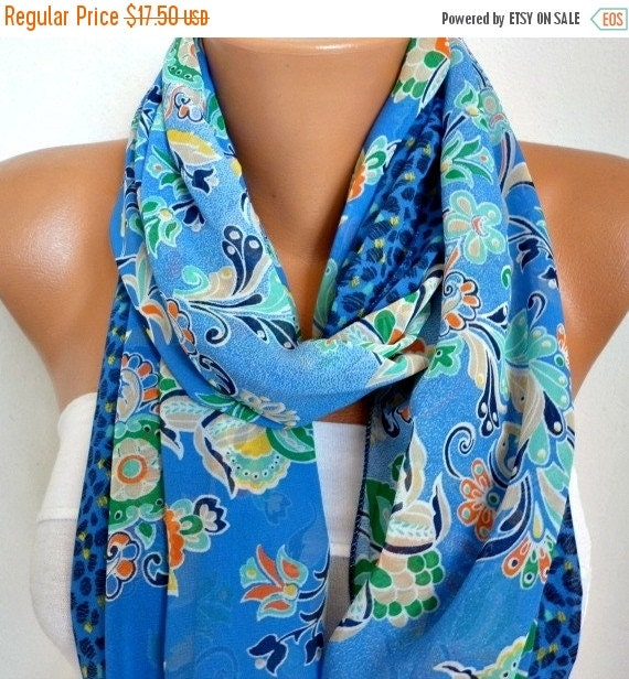 ON SALE --- Blue Floral Chiffon Infinity Scarf, Teacher Gift Cowl Scarf,Circle Loop Scarf, Gift Ideas For Her,Women Fashion Accessories Wome