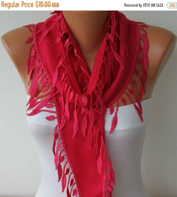 ON SALE --- Hot Pink leaves Pashmina Scarf  Summer Scarf, Birthday Gift Easter Cowl Scarf Gift Ideas For Her Women Fashion Accessories Mothe
