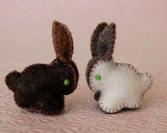Two Felted Bunnies Brown and White -- Unique soft sculpture RABBITS -- Handmade Felt