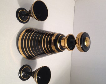 Rare 1940s art glass black glass decanter gold stripes & 2 cordial glasses Boom Belgium - At Everything Vintage shipping's on us!on us!