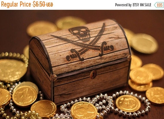 ON SALE Pirate's Treasure Chest Box - INSTANT Download - Printable Birthday Party Favor Gift Decoration Template by Sassaby Parties
