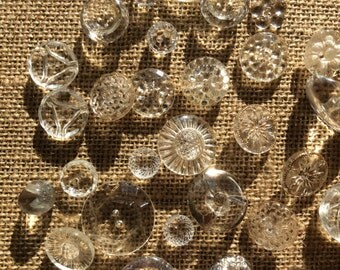 Vintage Clear Glass Buttons, set of 32