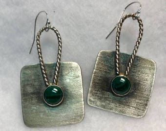 Handcrafted Sterling Silver Earrings with Natural Malachite Cabochons