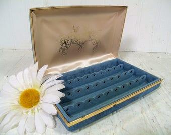 Retro Denim Look Blue Vinyl Clam Shell Travel Jewelry Case - Cream Satin & Turquoise Velveteen Lining - Vintage Pierced Earrings Storage Box