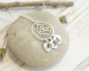 Sterling Silver Mother Bird Necklace with Family Initial Petal Charms... You Choose How Many Initials