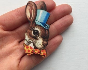Easter Bunny Rabbit in Blue Hat and Bowtie Brooch Animal Portrait Birthday Wooden Pin Gift for Stocking Filler Stuffer Jewellery Pin Collar