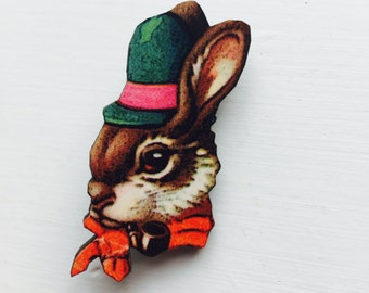 Easter Bunny Rabbit in Green Hat and Bowtie Brooch Animal Portrait Birthday Wooden Pin Gift for Stocking Filler Stuffer Jewellery Pin Collar