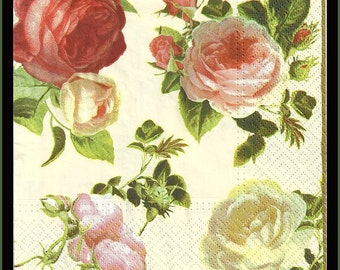Paper Napkins, Roses, Shabby Chic, Cottage Style Decoupage Paper lot of four pieces