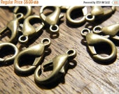 ON SALE 100 x Antiqued Bronze Lobster Clasps 12mmx6mm