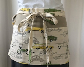 Half Apron - Vendor Apron with pockets - Utility Apron - Garden Apron - Teacher Apron -   green cream yellow grey black cars and trucks