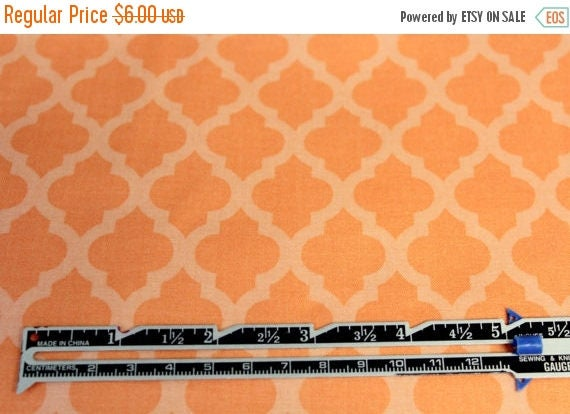 Orange Tone on Tone Fabric,Quatrefoil Fabric,Sherbet Orange Fabric,100% Cotton,Quilt Fabric,Apparel Fabric,Craft Fabric,Fabric By The Yard