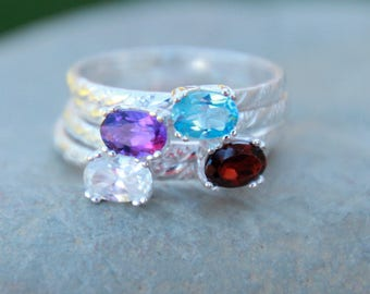 Fancy Floral Gemstone Ring - Gemstone Ring - Floral Band - Sterling Silver Gemstone Ring