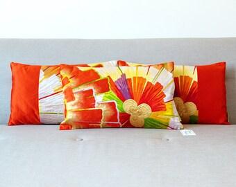 Orange Silk Cushion Set of 3 -Vintage Kimono Pillow Trio -Deco 1920s -Antique Japanese Obi Floral Starburst Throw Cushions