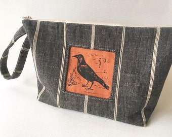 Raven Linen Wristlet, Knitting Project Bag