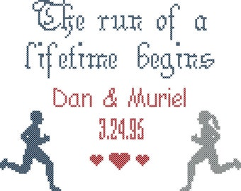 Run of a Lifetime Wedding Sampler Cross Stitch Pattern/ Running Cross Stitch Pattern/Cross Stitch Pattern/Modern Cross Stitch Pattern/PDF