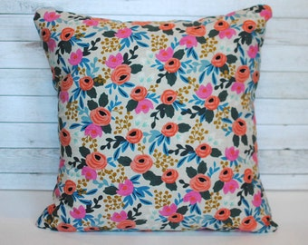 Floral pillow cover. 1 cover for 20x20 pillow. Farmhouse pillow shabby chic pillow pink and blue floral pillow cottage decor bed pillow