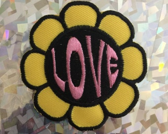 Flower Power Love Patch Iron On Vintage Yellow Pink