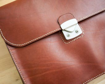 Briefcase Document Case, men's document portfolio, made with copper brown Horween Chromexcel, hand sewn, jacobson leather
