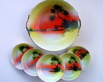 Vintage Noritake Morimura Berry Bowl Set Japanese Landscape Dessert Bowls Asian Serving Bowls