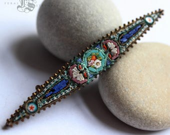 Antique Victorian Micromosaic Brooch. The Secret Garden Micro Mosaic.