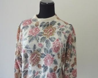 Vintage SML Sport Rose Pattern Silk & Angora Blend Sweater 1980s