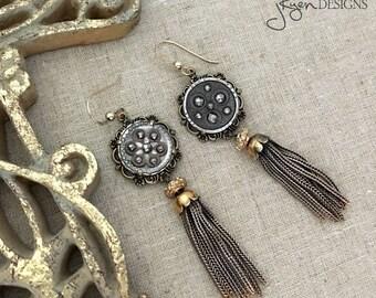 Antique Button Earrings, Vintage Assemblage Earrings, Cut Steel Button Earrings, Dangle Drop Earrings, Tassel,  Tassel Dangle Earrings